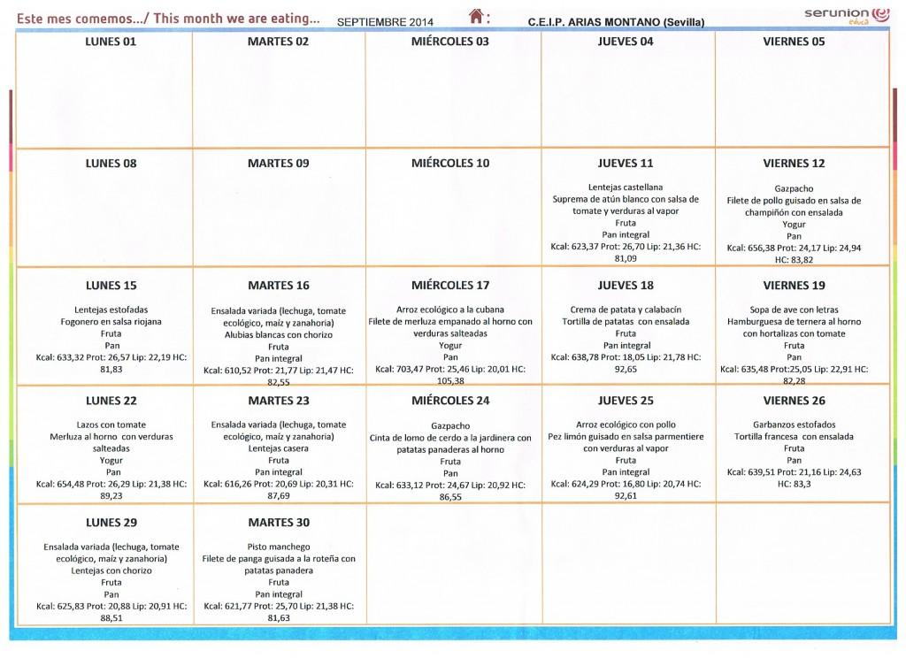 Menu Comedor Escolar - Septiembre 2014