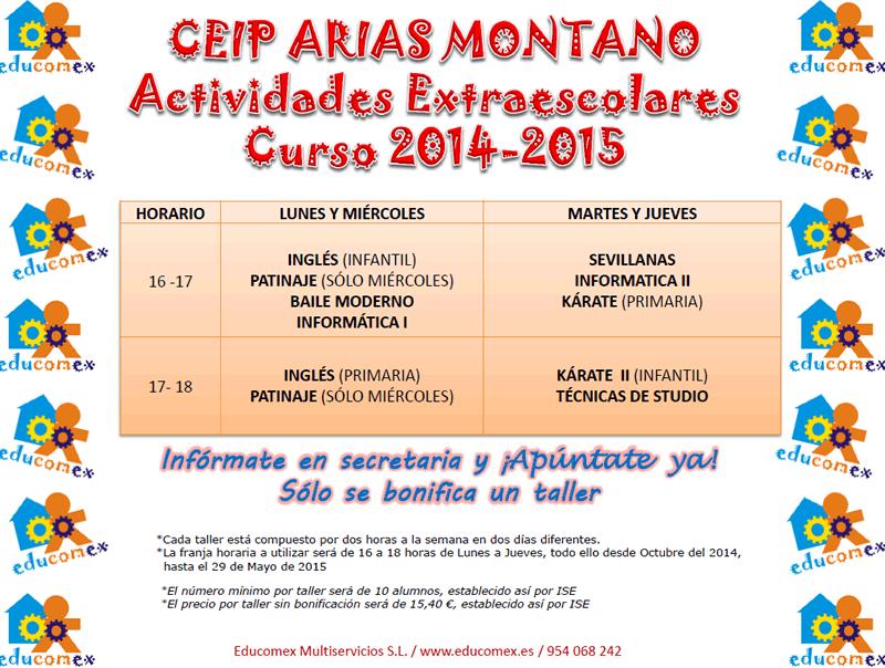 Cartel Actividades Extraescolares 2014-2015