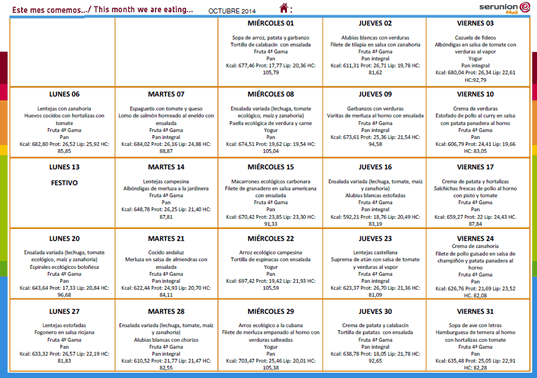 Menú del Comedor Escolar - Octubre 2014