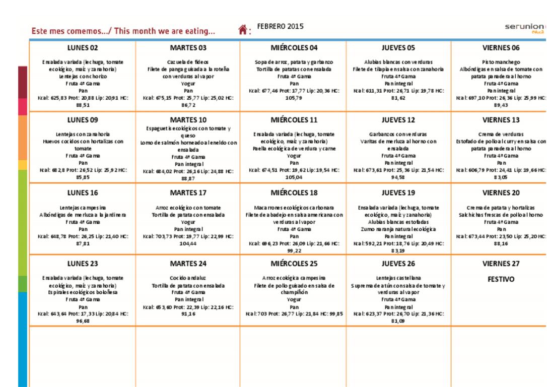 Menú del Comedor Escolar - Febrero 2015 - CEIP Arias Montano (Sevilla)