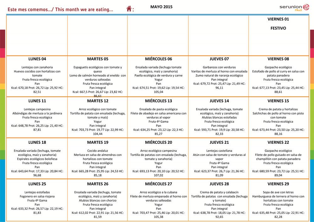 Menú del Comedor Escolar – Mayo 2015 - CEIP Arias Montano (Sevilla)